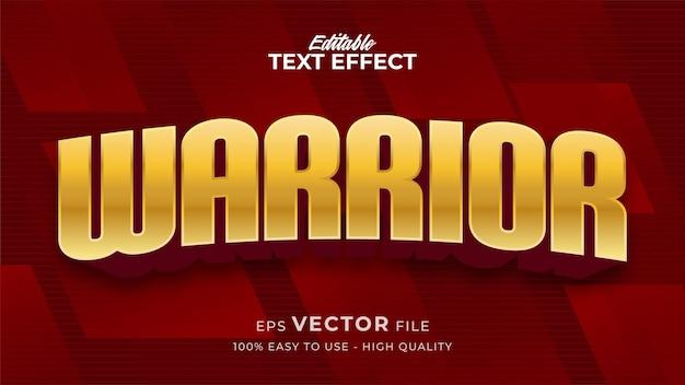Efeito de estilo de texto editável - tema de estilo de texto guerreiro de ouro vermelho