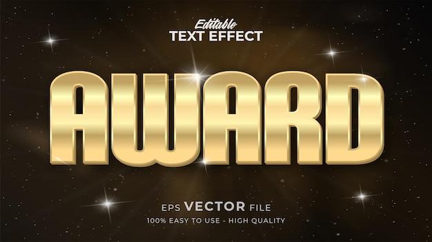 Efeito de estilo de texto editável - tema de estilo de texto luxury award gold