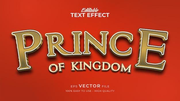Efeito de estilo de texto editável - tema de estilo de texto luxury prince gold