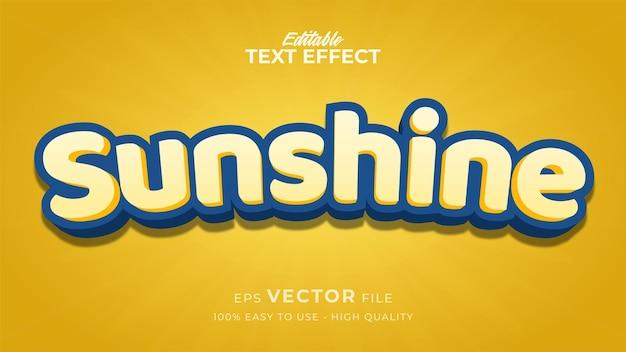 Efeito de estilo de texto editável - tema de estilo de texto luz do sol amarelo
