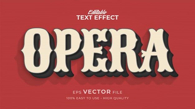 Efeito de estilo de texto editável - tema de estilo de texto opera retro
