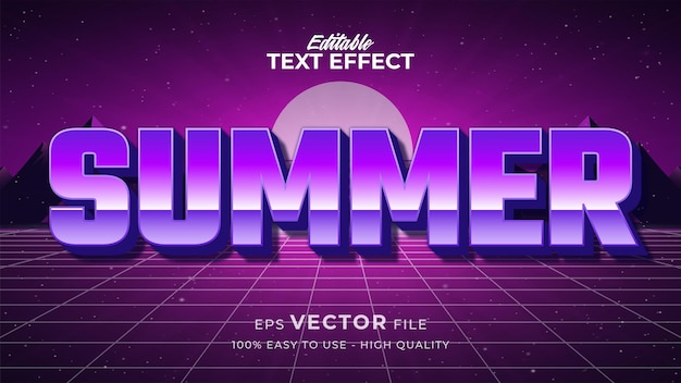 Efeito de estilo de texto editável - tema de estilo de texto retro do verão