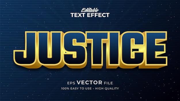 Efeito de estilo de texto editável - tema de estilo de texto retro justice