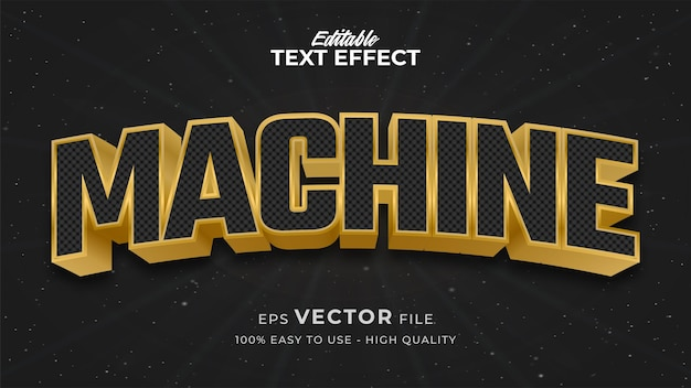Efeito de estilo de texto editável - tema de estilo de texto retro machine
