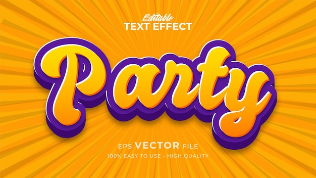 Efeito de estilo de texto editável - tema de estilo de texto retro party
