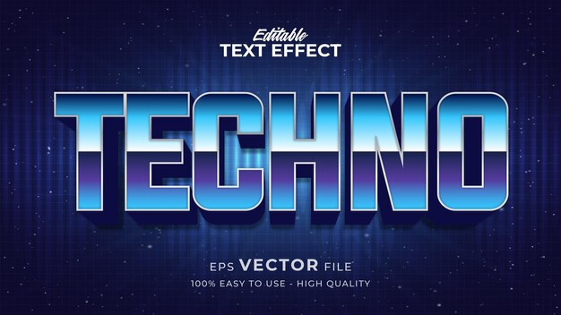 Efeito de estilo de texto editável - tema de estilo de texto techno retro