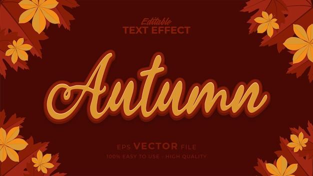 Efeito de estilo de texto editável - texto de outono com ilustração de folhas de bordo