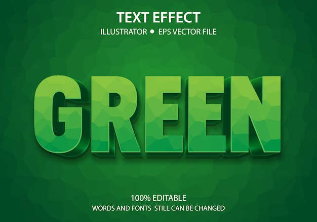 Efeito de estilo de texto editável verde negrito premium