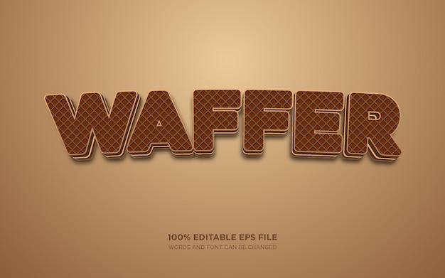 Efeito de estilo de texto editável wafer 3d