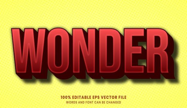 Efeito de estilo de texto editável wonder em 3d