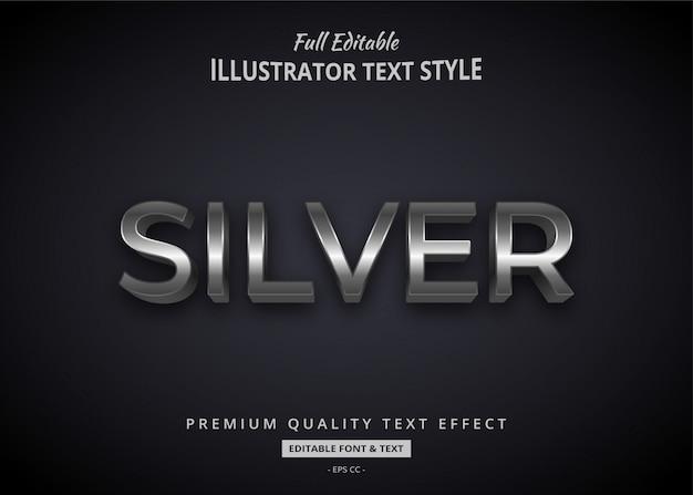 Efeito de estilo de texto elegante em prata 3d premium