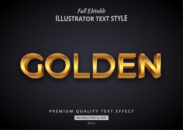 Efeito de estilo de texto em 3d elegante dourado premium