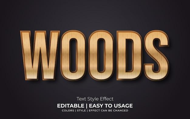 Efeito de estilo de texto em madeira 3d