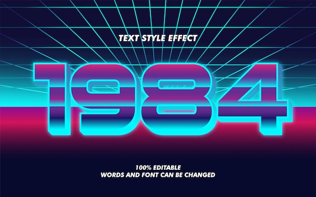 Efeito de estilo de texto em negrito gradiente retro vintage para cartaz de filme Vetor Premium