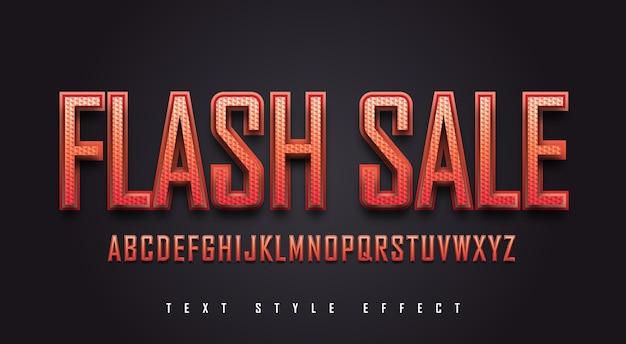 Efeito de estilo de texto em negrito vermelho com textura e estilo chanfrado