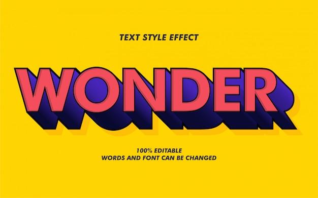 Efeito de estilo de texto em negrito wonder 3d para poster de filme