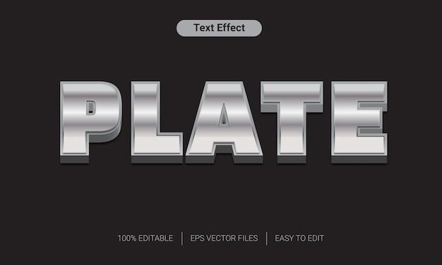 Efeito de estilo de texto em prata placa de metal 3d