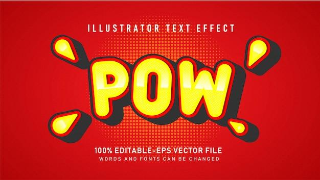 Efeito de estilo de texto em quadrinhos bolha pow