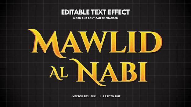 Efeito de estilo de texto islâmico mawlid al nabi muhammad