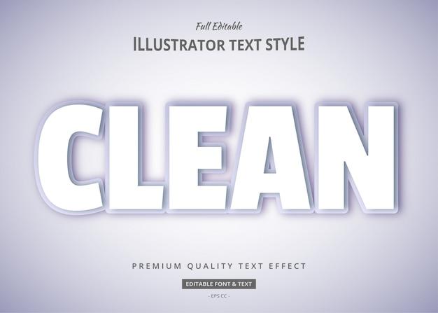 Efeito de estilo de texto limpo branco