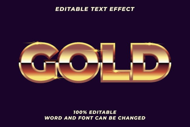 Efeito de estilo de texto metal gold premium