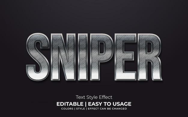 Efeito de estilo de texto metálico em negrito com bordas brilhantes