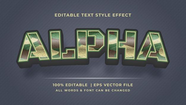 Efeito de estilo de texto militar alfa 3d. estilo de texto editável do ilustrador.