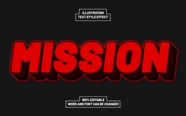 Efeito de estilo de texto mission red bold