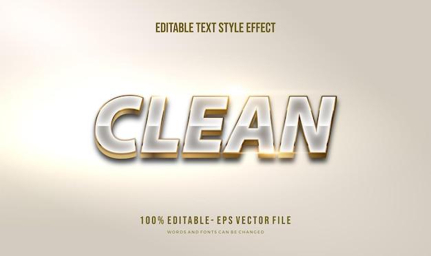Efeito de estilo de texto moderno e limpo branco e dourado com cor dourada brilhante. texto editável.