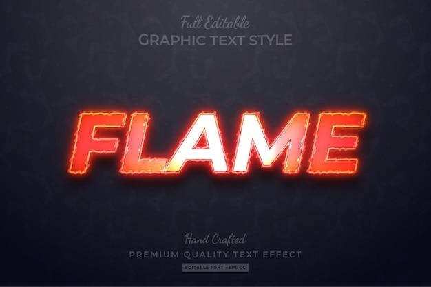 Efeito de estilo de texto personalizado editável flame premium