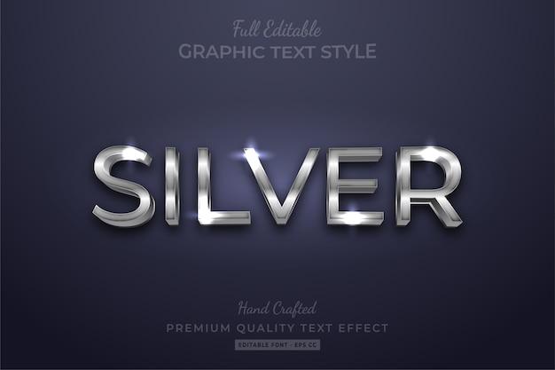 Efeito de estilo de texto personalizado editável prata premium
