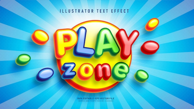 Efeito de estilo de texto play zone