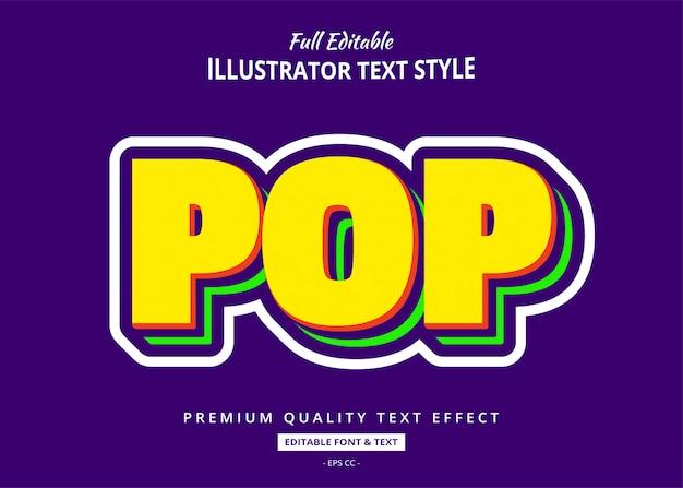 Efeito de estilo de texto pop art