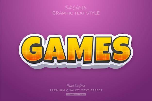 Efeito de estilo de texto premium editável de desenhos animados de jogos