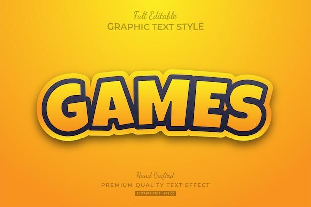 Efeito de estilo de texto premium editável do yellow games cartoon