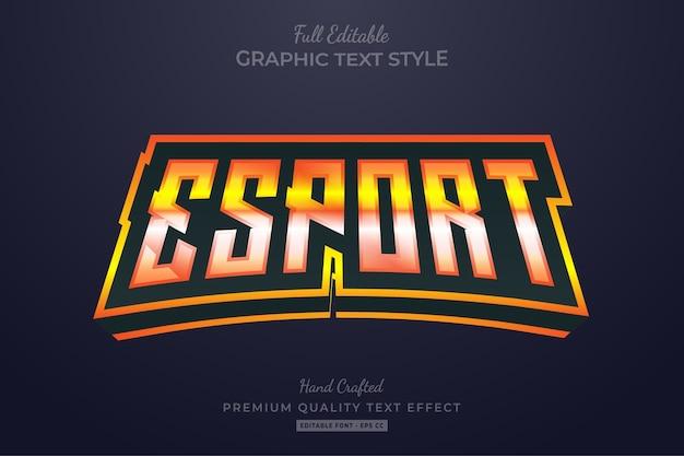 Efeito de estilo de texto premium editável esport flame