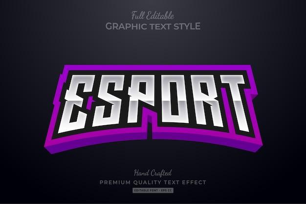 Efeito de estilo de texto premium editável esport roxo