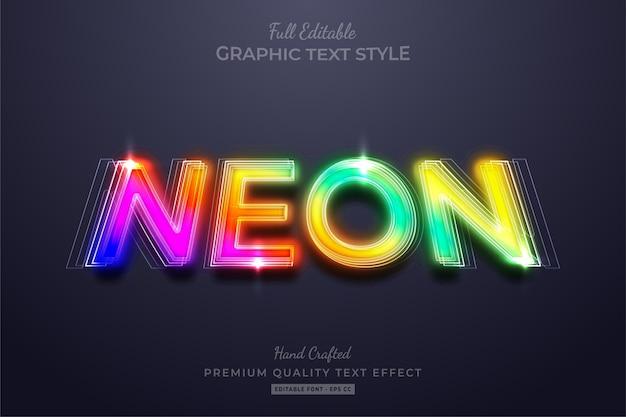 Efeito de estilo de texto premium editável gradient neon