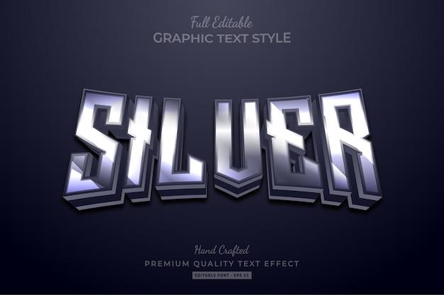 Efeito de estilo de texto premium editável silver glow