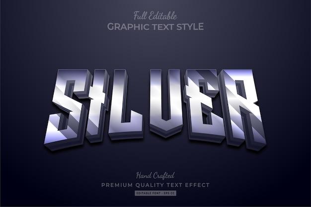 Efeito de estilo de texto premium editável silver shine