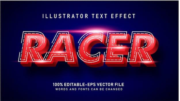 Efeito de estilo de texto racer vermelho