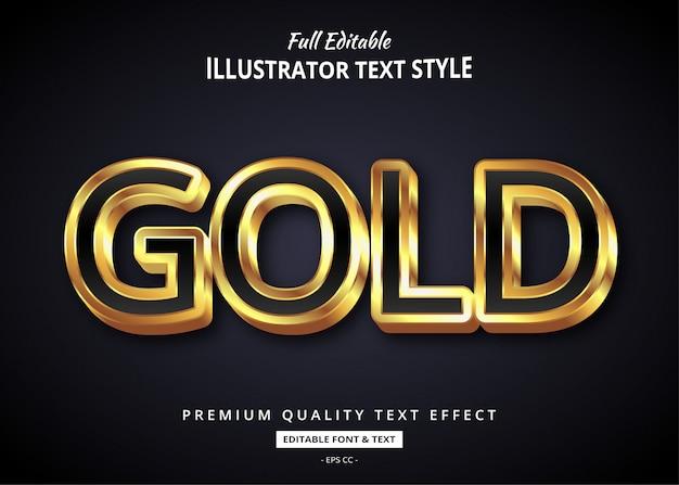 Efeito de estilo de texto realista de ouro
