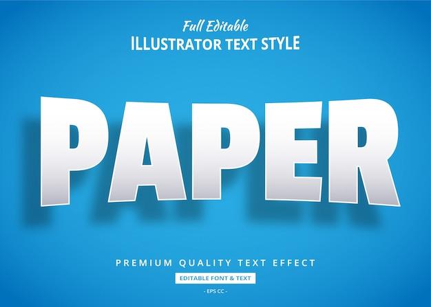 Efeito de estilo de texto realista de papel 3d