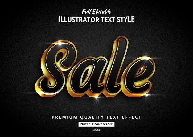 Efeito de estilo de texto realista venda ouro