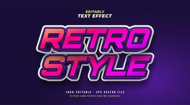 Efeito de estilo de texto retro colorido. efeito de estilo de texto editável