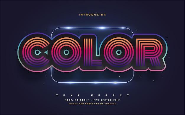 Efeito de estilo de texto retro colorido. efeitos de estilo de texto editáveis