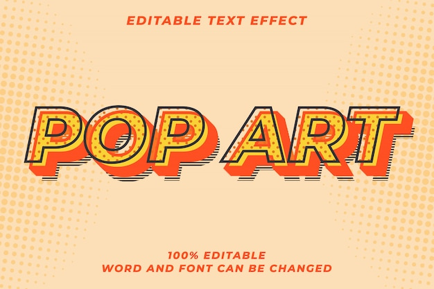 Efeito de estilo de texto retro pop art moderno