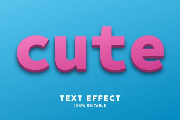 Efeito de estilo de texto rosa azul bonito