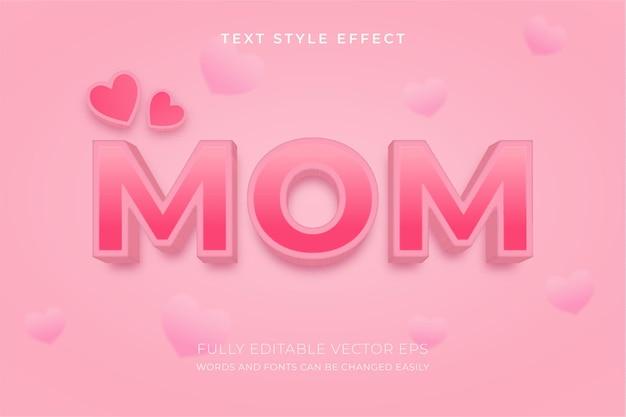 Efeito de estilo de texto rosa editável mom 3d com um fundo adorável