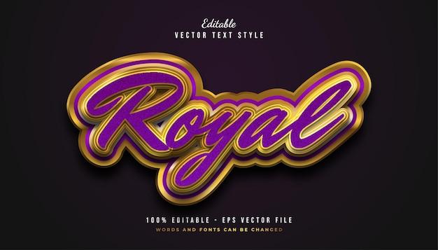 Efeito de estilo de texto royal luxury em roxo e dourado